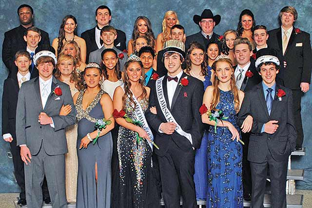Jace Skalicky and Karson Patton (center front) were announced on Jan. 17 as the 2015 Latexo Homecoming King and Queen. Landon Duren and Shala Creswell (front row, left) were selected as Prince and Princess.