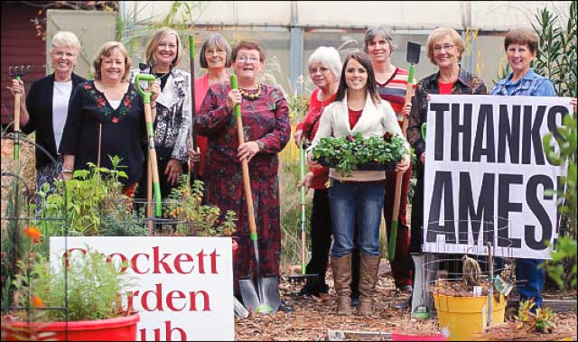 "Members of the Crockett Garden Club are elated to have $700 worth of new tools and other equipment from AMES Companies, Inc. to use in the Plants of the Bible Garden.  Pictured in the garden with some of the new tools and a big ""Thank You"" for AMES are Sandy Farrar, Connie Hand, Peggy Bozarth, Polly Brann, Jolene Renfro, Lou Stout, Ashley Perry, Pat Vilbaum and Mary Smith. (Photo by Kelly McChesney)"