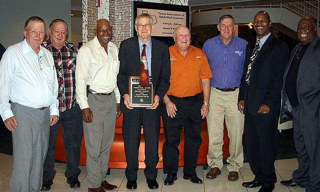 Coach Johnny Carter is flanked by some of his formerKennard basketball players following his induction into the Texas Association of Basketball Coaches' Hall of Fame on Saturday, May 17 in San Antonio. Pictured are (from left) Gary Parrish, James (Nubbin) Pilkington, Roy Harrison, Herman Myers, Fred Pilkington, Jimmy Twine and Donald Denman. (Photo by Debbie Pilkington)
